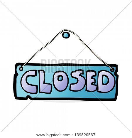 cartoon closed shop sign