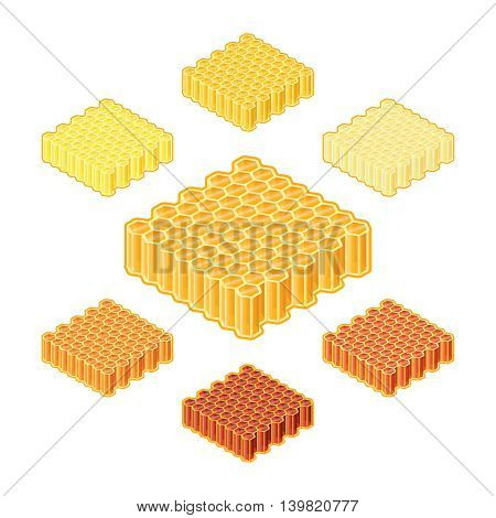 Vector Different Shades Or Sorts Of Honey Into Honeycombs In Isometric Style