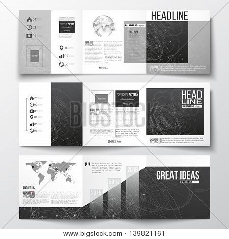 Vector set of tri-fold brochures, square design templates with element of world map and globe. Molecular construction with connected lines and dots, scientific or digital design pattern on black background.