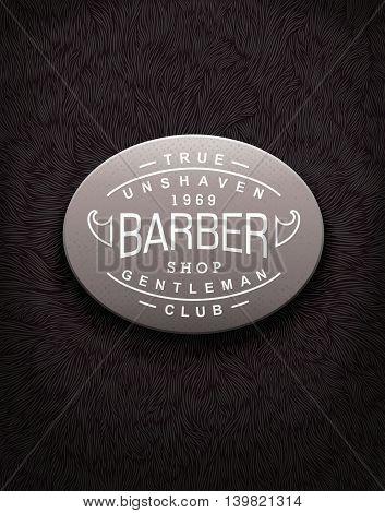 Vintage label for Barbershop with unique shaggy texture