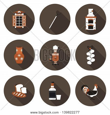 set of flat icons village in vector format eps10