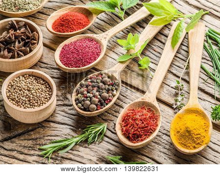 Assortment of colorful spices in the wooden spoons on the wooden table.