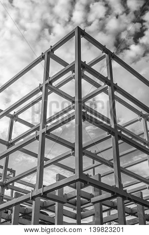 skyscraper construction site building structure on cloudy sky