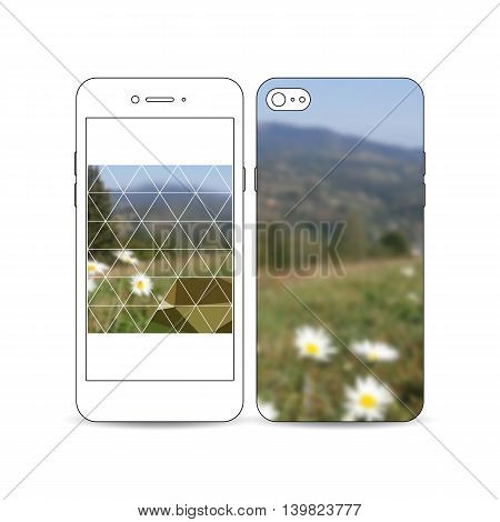 Mobile smartphone with an example of the screen and cover design isolated on white background. Summer landscape. Colorful polygonal backdrop, blurred background, modern stylish triangle vector texture
