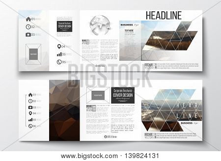 Vector set of tri-fold brochures, square design templates with element of world globe. Colorful polygonal backdrop, blurred background, mountain landscape, modern stylish triangle vector texture.