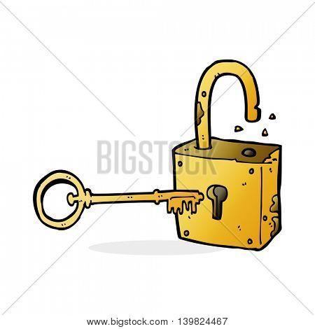 cartoon rusty old padlock
