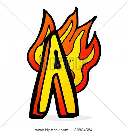 cartoon flaming letter