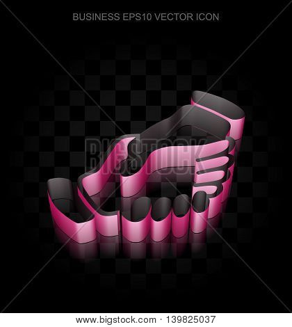 Business icon: Crimson 3d Handshake made of paper tape on black background, transparent shadow, EPS 10 vector illustration.