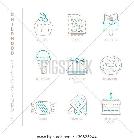 Set Of Vector Sweet Food Icons And Concepts In Mono Thin Line Style