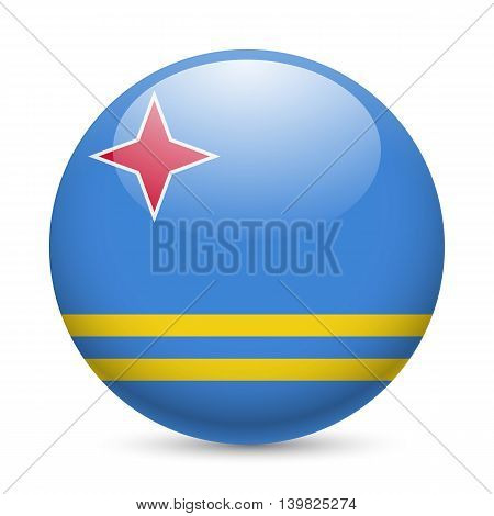 Flag of Aruba as round glossy icon. Button with Aruban flag