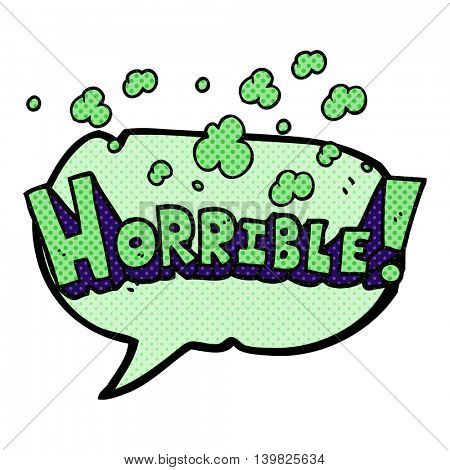 freehand drawn comic book speech bubble cartoon word horrible