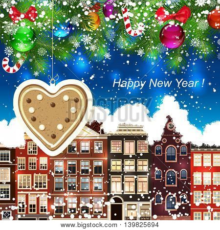 Gingerbread heart on the background of snow-covered streets. New Year design background. Falling snow.  Holiday illustration with place for text.