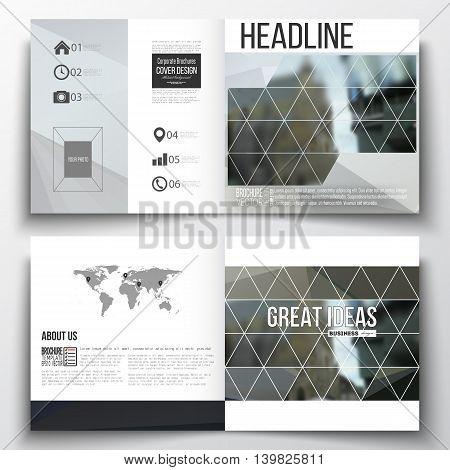 Vector set of square design brochure template. Polygonal background, blurred image, urban landscape, modern stylish triangular vector texture.