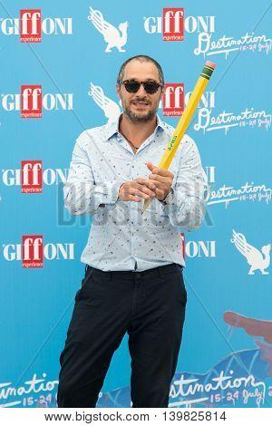 Giffoni Valle Piana SA ITALY - July 23 2016: Actor Claudio Santamaria on photocall during 46th Giffoni Film Festival 2016 - on July 23 2016 in Giffoni Valle Piana Italy.