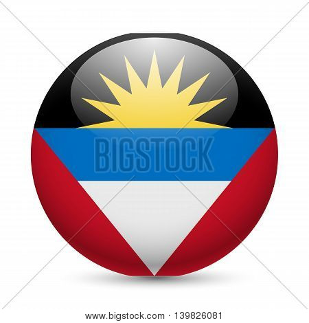 Flag of Antigua and Barbuda as round glossy icon. Button with flag design