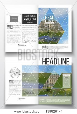Set of business templates for brochure, magazine, flyer, booklet or annual report. Polygonal background, blurred image, park landscape, modern stylish vector texture.