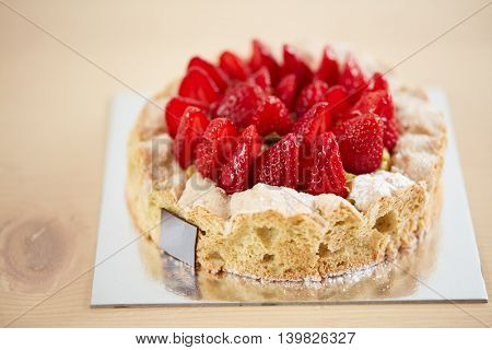 Close up of strawberry cake in confectionery