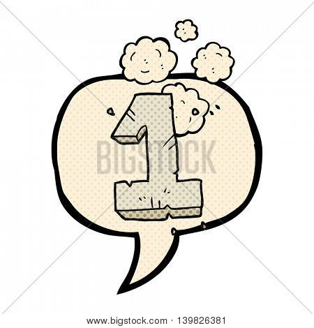 freehand drawn comic book speech bubble cartoon stone number one