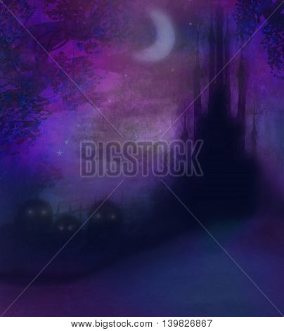 Halloween terrible illustration with a ghost in front of a haunted house , raster