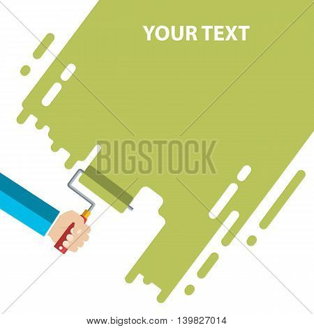 Mens hand holds a paint roller with a green color. Interior design, repair concept. vector illustration flat design. Blank template for your text