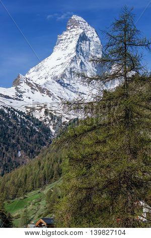 Peak of Matterhorn Mountain with blue sky Landscape from Zermatt Switzerland