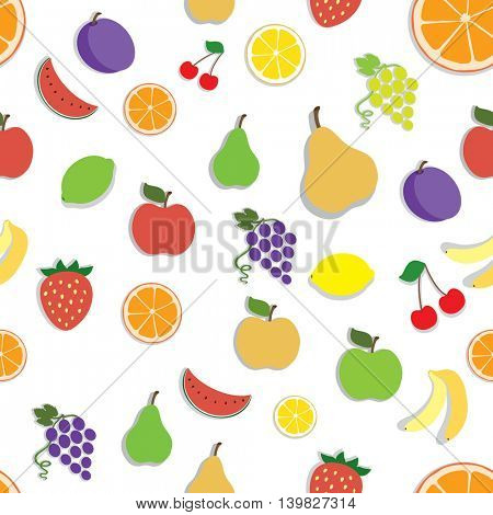 Vector seamless pattern with fruits icon. Food sign. Healthy lifestyle color illustration for print, web.