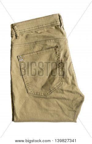 Folded khaki pants isolated over white background