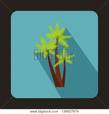 Three palms icon in flat style on a baby blue background