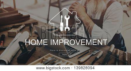 Home Improvement Website Register Button Concept