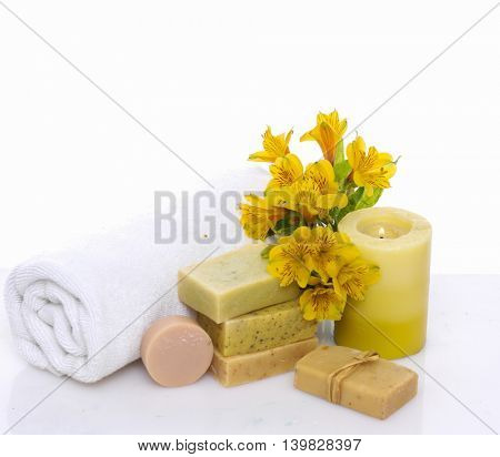 Spa setting with towel ,soap