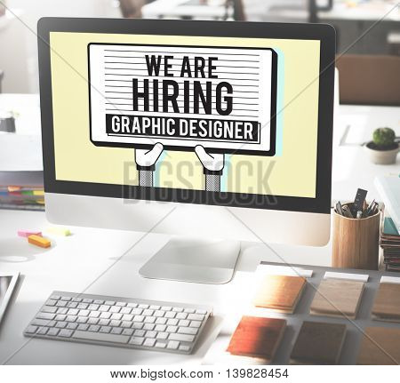 Hiring Graphic Designer Creative Sketch Visual Concept