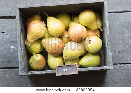 Vegan food, text and Healthy Organic Pears