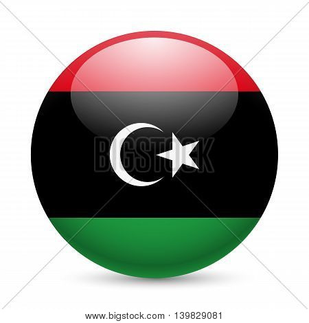 Flag of Libya as round glossy icon. Button with Libyan flag