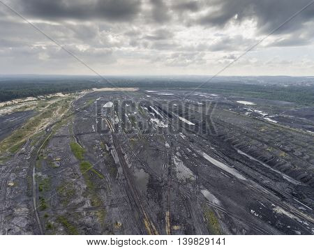 Coal Mine In South Of Poland. Destroyed Land. View From Above.