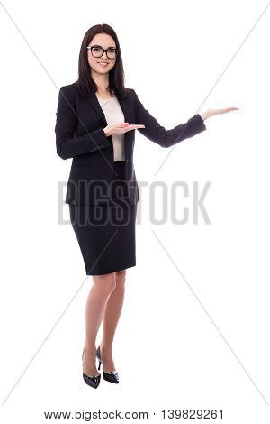 Happy Business Woman Presenting Something Isolated On White