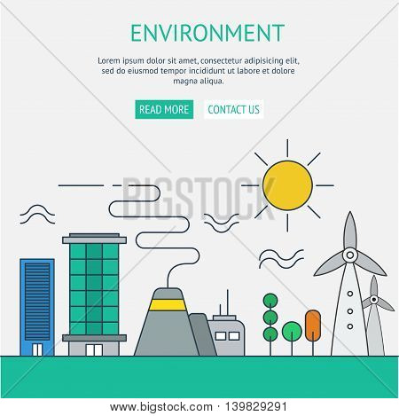 One page web design template with thin line icons of planet ecology environment city environmental pollution green earth conservation.