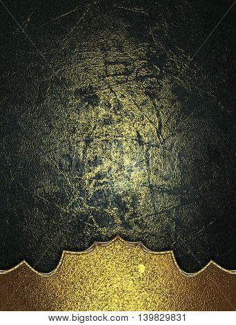 Grunge Dark Background With Gold Pattern. Template For Design. Copy Space For Ad Brochure Or Announc