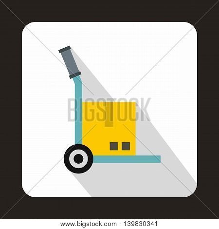Hand cart with cardboard icon in flat style on a white background