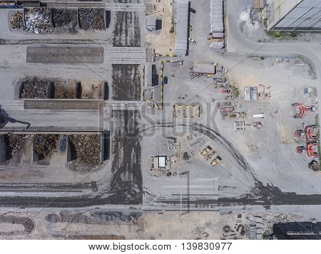 Aerial view over industrial place in Poland