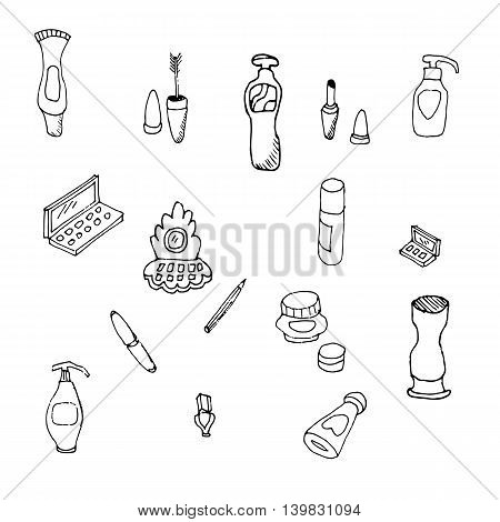 A collection of sketches on make-up cosmetics. Lipstick mascara powder eye shadow brushes perfume cream nail polish.