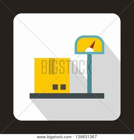 Scales for weighing with box icon in flat style on a white background