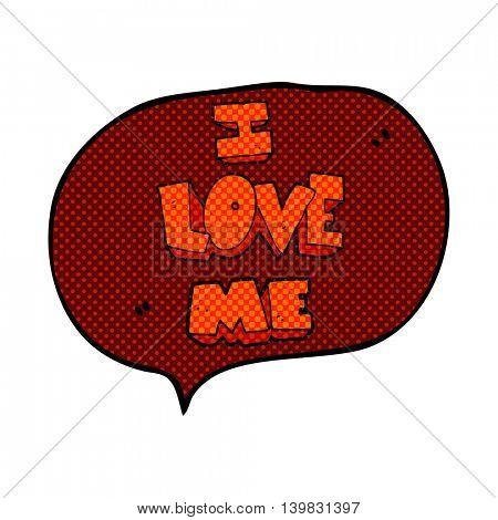 i love me freehand drawn comic book speech bubble cartoon symbol