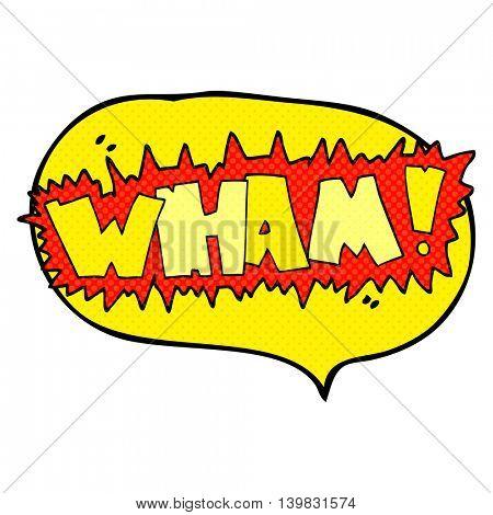 freehand drawn comic book speech bubble cartoon wham! symbol