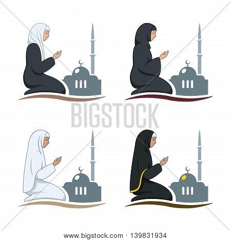 Traditionally clothed muslim woman making a supplication (salah) while sitting on a praying rug against the backdrop of the mosque. Silhouette icon set includes 4 versions in different dress. Vector illustration.