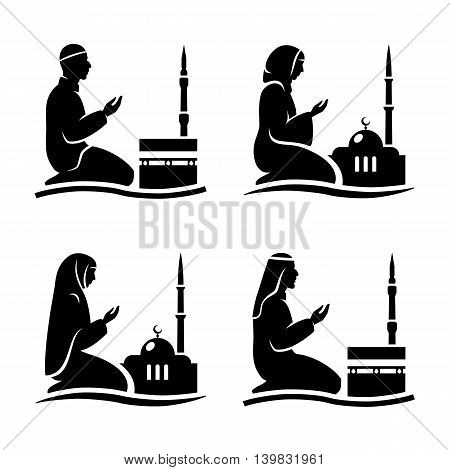 Traditionally clothed muslim man and woman making a supplication (salah) while sitting on a praying rug against the backdrop of the mosque. Silhouette icon set includes 4 versions in different dress. Vector illustration.