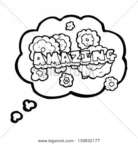 freehand drawn thought bubble cartoon amazing word