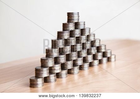 pyramid of the russian coins on the table closeup