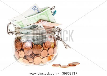 Jar With Euros Isolated
