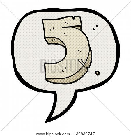freehand drawn comic book speech bubble cartoon stone number five