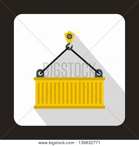 Crane lifts yellow container icon in flat style on a white background
